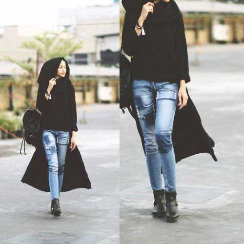 long-black-cardigan-with-jeans- How to wear ankle boots with hijab