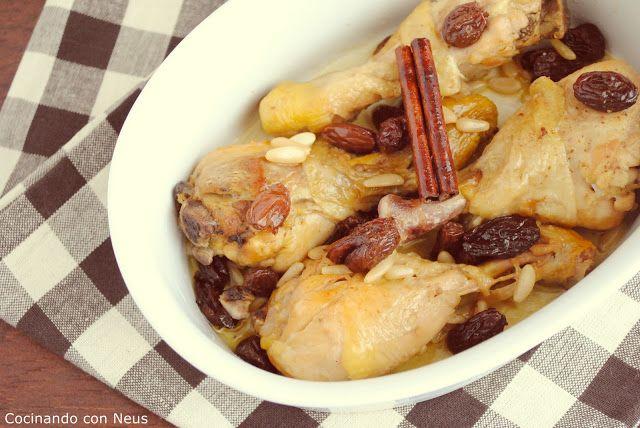Cocinando con Neus: Muslos de pollo con pasas y piñones al aroma de canela