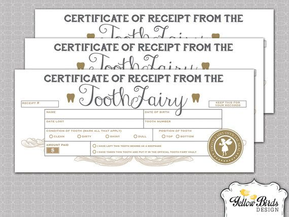 Tooth Fairy Receipts, Tooth Fairy lost tooth certificate, first tooth lost receipt, Digital Download, DIY, 3-up 8.5x11