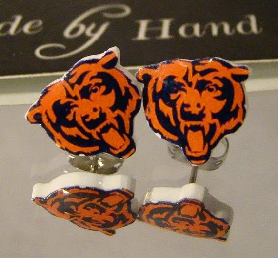 Chicago Bears Football Stud Earrings by afanaffair on Etsy, $5.99 ... ooh i WANT
