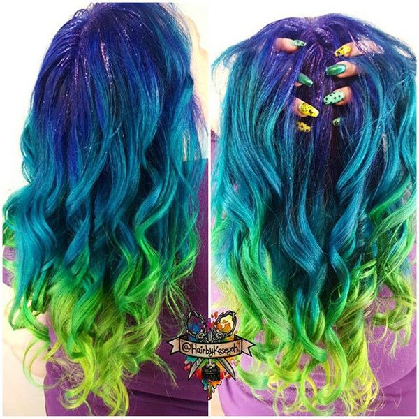 Blue to green ombre hair color style~ new hair trends of Galaxy Hairstyle