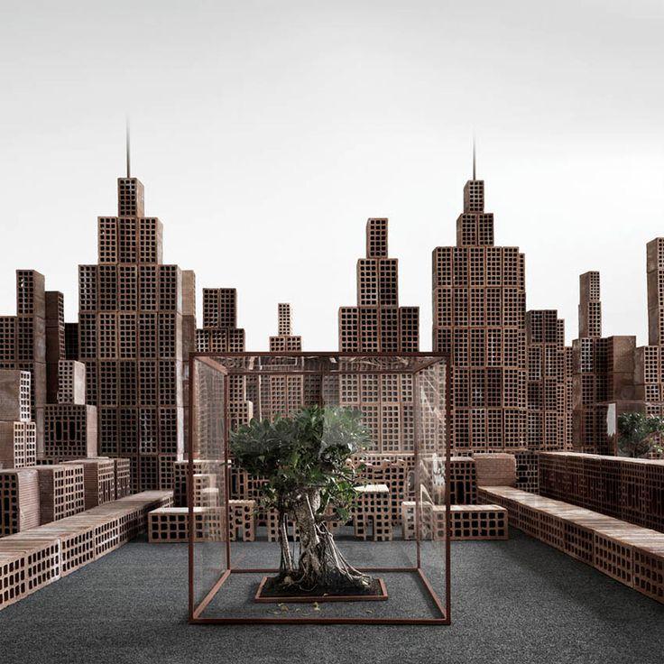 matteo mezzadri builds a brick city from urban architectural materials - designboom | architecture