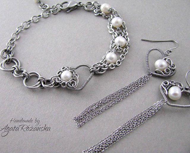 Perły ♡ Dostepne na www.agatarozanska.eu Etsy shop-> etsy.com/shop/AgataRozanskaJewelry  #pearls #wirewrap #wirewrapped #bracelet #earrings #wirewrappingjewelry #jewelry #jewellery #handmade #recznierobione #rekodzielo
