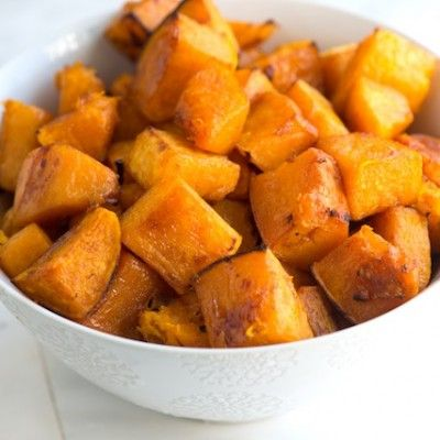 Cinnamon Roasted Butternut Squash Recipe - note: I added 2 tbsp of maple syrup as well; only needed to be cooked about 25 minutes