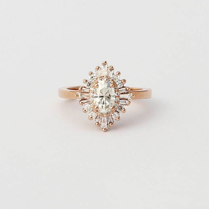 The Oval Gatsby Petite is the scaled-down version of the Original Oval  Gatsby. Retro/traditional art deco Engagement ring