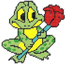 Frog with Rose Plastic Canvas Pattern by PCDesignz on Etsy