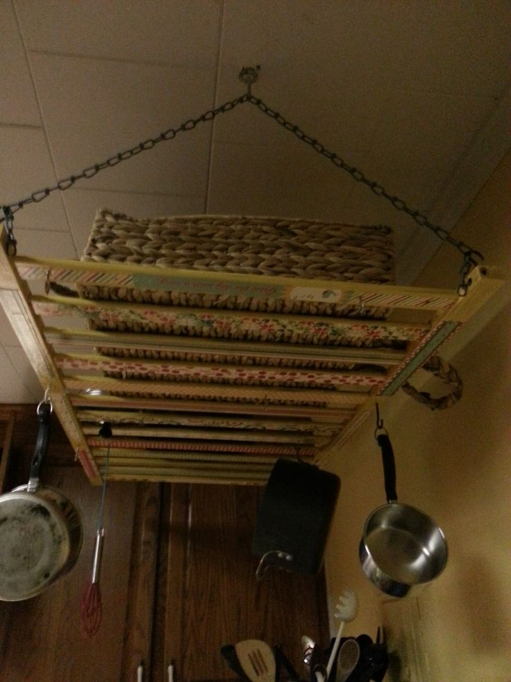 Crib rail turned pot rack- DONE!