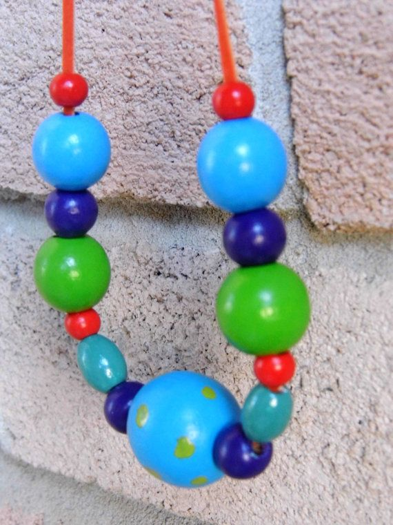 Unique wooden beads colorful artsy necklace by tanyasjuwerlly