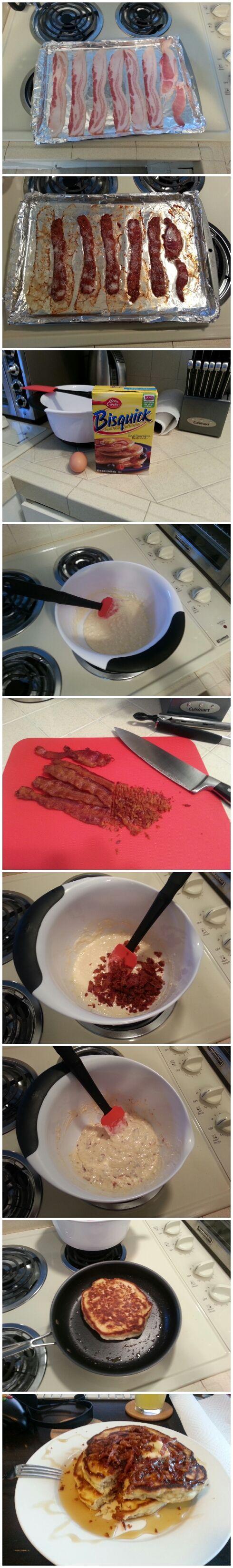 Making bacon pancakes.