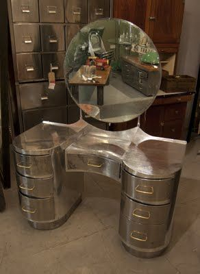 aluminium dressing table from the 1940s, which was made using old aircraft parts after the Second World War.