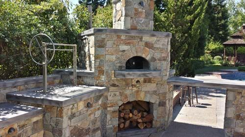 Stone pizza oven outdoor barbecue island google search - Outdoor kitchen pizza oven design ...