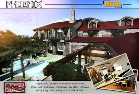 PHOENIX -  Mesh House - Full scripted and interactive contemporary skybox 1NNOVAT1ON Design home.