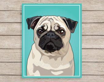 Mops-Kunstdruck Mops Hund Kunst, Mops-Dekor, Mops Wandkunst, Hund, Mops-Kunst, Süße Mops-Kunst, Mops Welpen, Hund Wandkunst, Kunst Geschenk für Mops-Liebhaber, Hund-Dekor