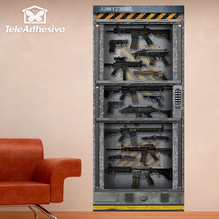 Pegatina de gran formato armario lleno de armas