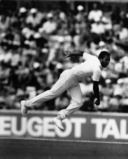 The great Malcolm Marshall in full flow