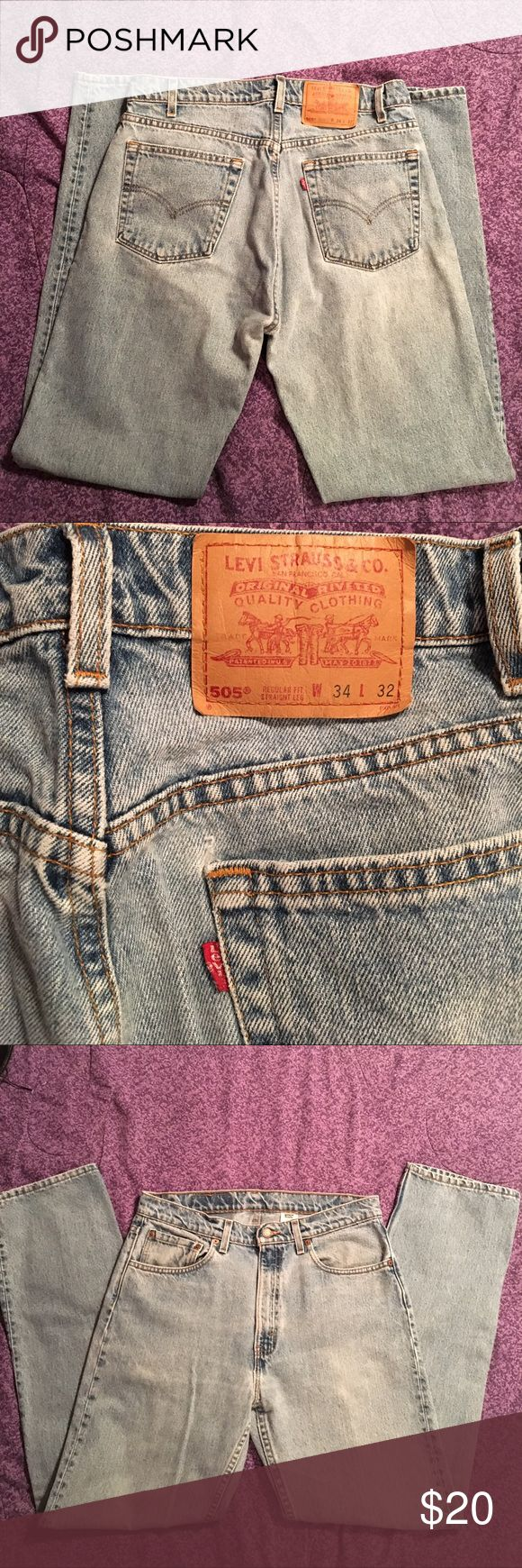 Men's Levi's 505 34W x 32L jeans Men's Levi 505 34W x 32L regular fit, straight leg, 100% cotton jeans.  Gently worn. Excellent used condition. Non smoking environment. Pet friendly household. Levi's Jeans Straight