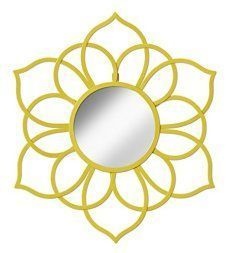 Metal floral wall art is beautiful cute and amazingly popular in homes across the world. Metal Flower wall art comes in many different sizes, stylish and colors. You can find traditional florals on canvas however you can find more abstract floral patterns that are attention getting and unique. #metalwallart #wallart #flowers   Kate Laurel Brienne Metal Flower Round Wall Accent Mirror, Yellow