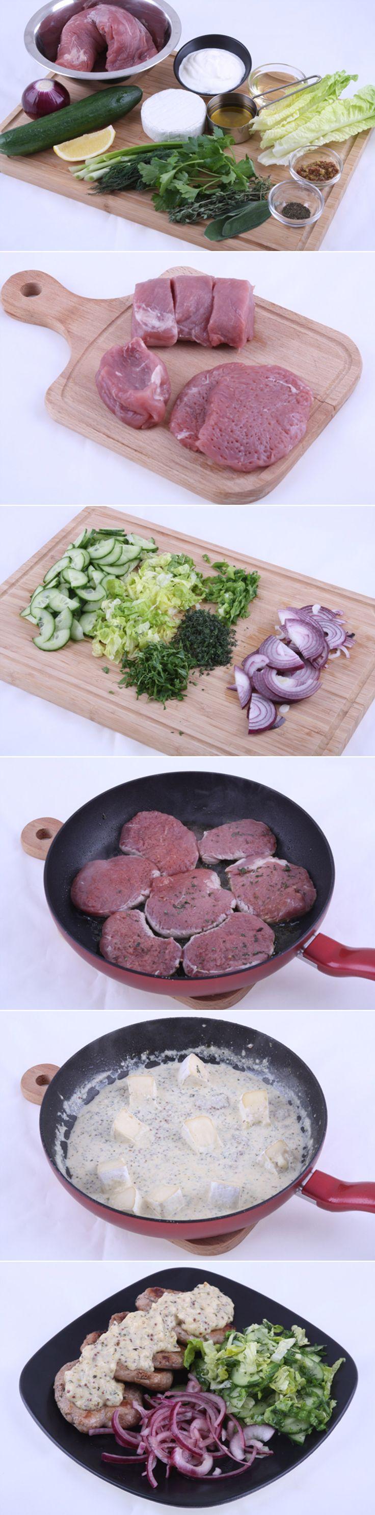 Медальоны из свиной вырезки с соусом камамбер и зеленым салатом. Любителям свинины и маринованных овощей. Рецепт средней сложности приготовления, но не потребует много времени. Изысканное блюдо с нежным соусом Камамбер порадует вас и ваших близких. Ингредиенты и рецепт...http://vk.com/dinnerday; http://instagram.com/dinnerday #мясо #кулинария #овощи #медальоны #сыр #соус #камамбер #свинина #еда #рецепт #dinnerday #food #cook #recipe #meat #cookery #vegetables #cheese #pork #sauce #camembert