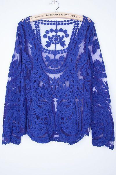 Long Sleeve Crocheted Lace Top - OASAP.com