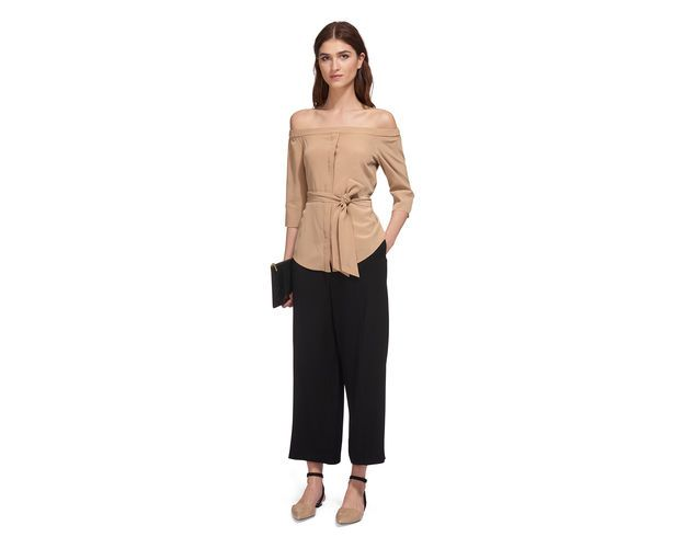 Flavia Bardot Silk Top, in Neutral on Whistles