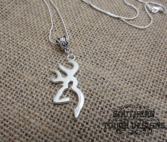 silver deer necklace deer head necklace by SouthernTouchDesigns