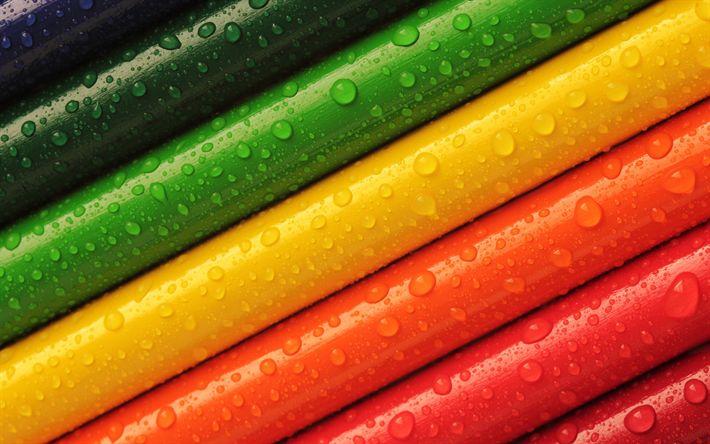 Télécharger fonds d'écran Coloré des crayons, des crayons en bois, arc-en-ciel, des crayons