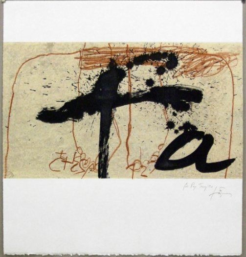 Artist: Antoni Tàpies,  title: Black and Red (Negre i sanguina),  technology: Etching, Carborundum, Vernis Mou