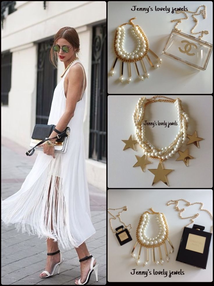 Gold pearl stars Chanel clutch necklace