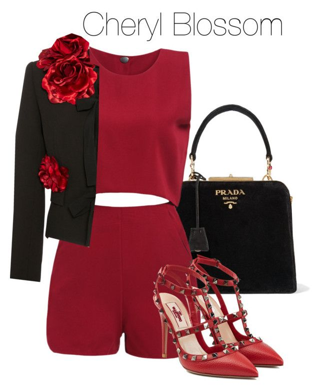 """Cheryl Blossom - Riverdale"" by shadyannon ❤ liked on Polyvore featuring Prada, Elie Saab and Valentino"