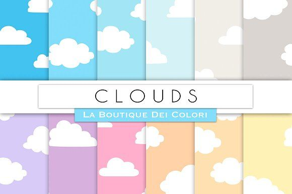 Cloudy Sky Digital Papers by La Boutique dei Colori on @creativemarket