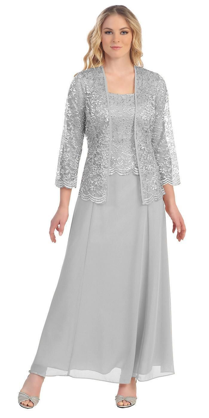Long chiffon dress for the mother of the bride in silver and lace