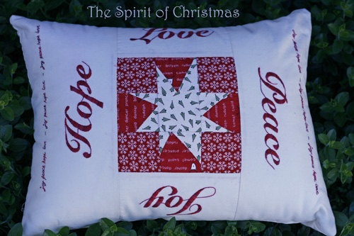 Spirit of Christmas Embroidered Cushion by seabreezequiltsoz, $5.00