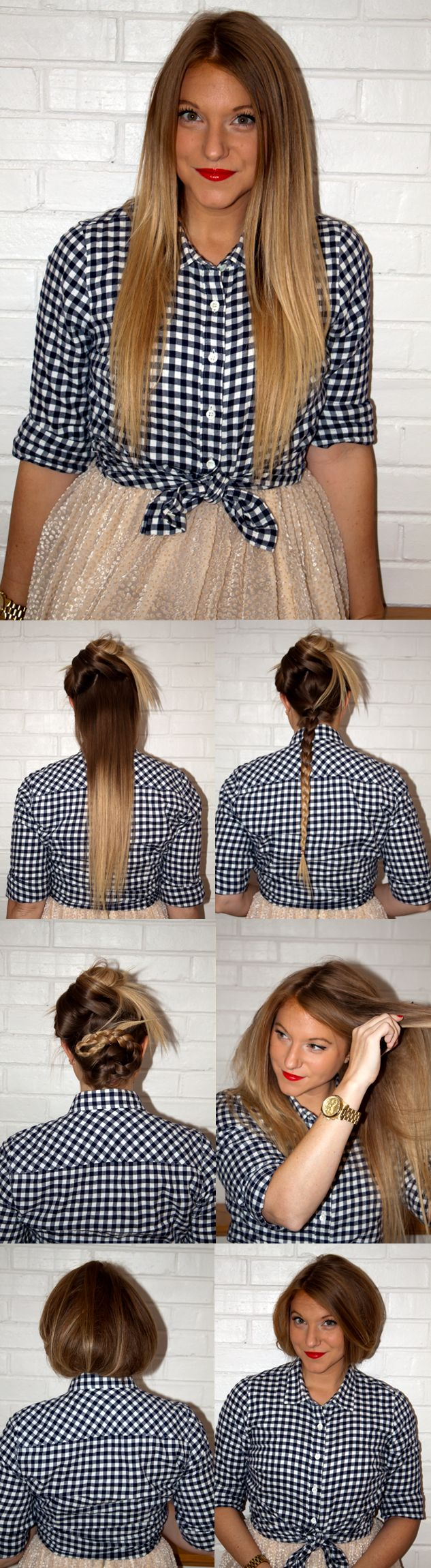 Faux Bob DIY  I love doing the faux bob. But I never braid the back section of my hair, so it's never secure enough. This should solve the problem. Will definitely be trying this.