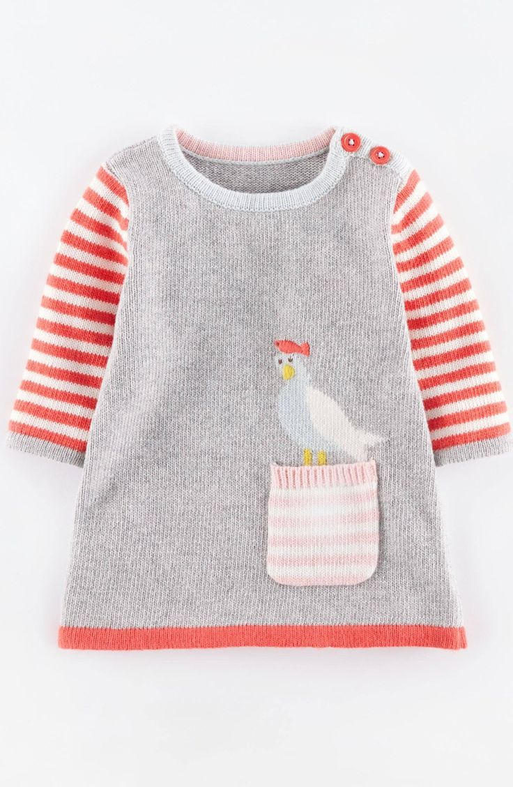 Mini Boden 'Fun' Pocket Knit Dress (Baby Girls)