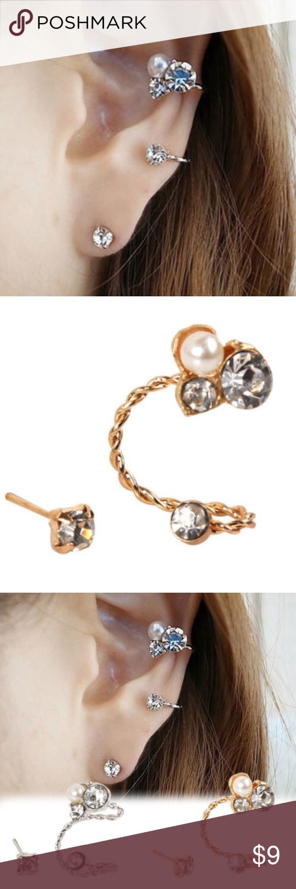 Trendy ! 2 pcs Earrings.SALE! 2 Pcs Elegant pearl clip earrings. As seen in second picture. Already lowered !gold tone. Jewelry Earrings