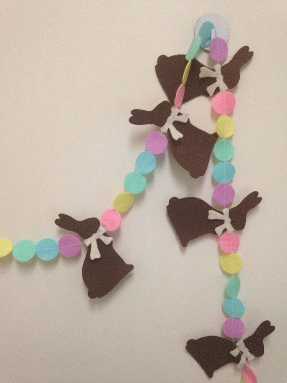 Felt Easter Egg + Chocolate Bunny Garland by ohmydeerlove on Etsy, $12.00