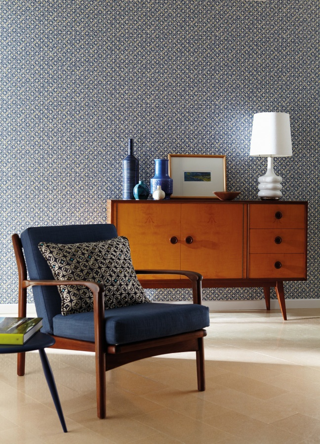 Midcentury Indigo Chair And Teak Cabinet Against The Wallpaper Love Color