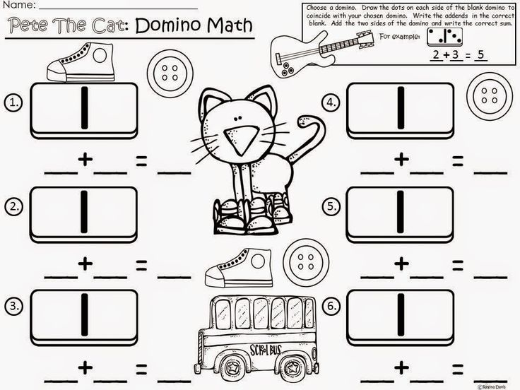 Free: Pete The Cat (by James Dean and Eric Litwin) Domino Math.  For Educational Purposes Only...Not For Profit. Enjoy! Regina Davis aka Queen Chaos at Fairy Tales And Fiction By 2.