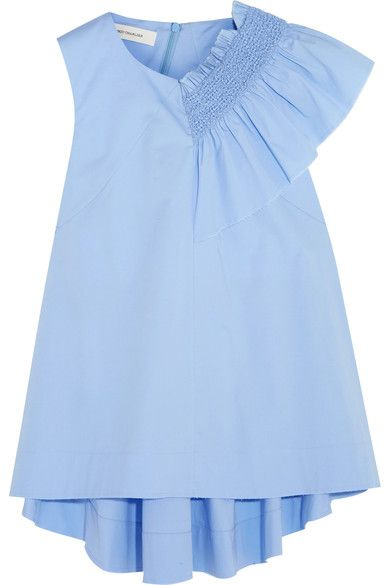 Sky-blue cotton-blend  Concealed asymmetric zip fastening along back 96% cotton, 4% other fibers  Dry clean  Made in Italy