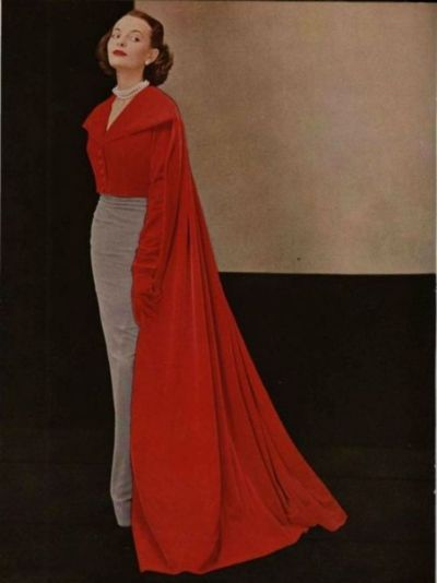 Cristóbal Balenciaga Outfit - 1949...wonderful concept with the cape drawing the color down...