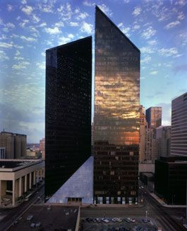 Pennzoil Place is a set of two 36-story towers in downtown Houston, Texas, United States, Designed by Philip Johnson and John Burgee and built in 1975, Pennzoil Place is Houston's most award-winning skyscraper and is widely known for its innovative design.