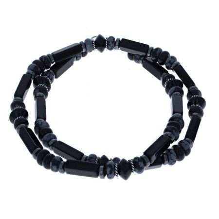 Black Onyx, Snowflake Obsidian & Sterling Silver Mens Beaded Necklace