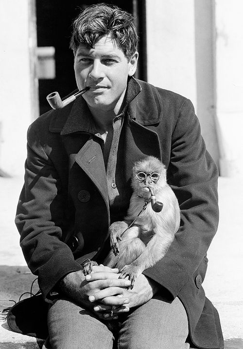 Man smoking a pipe with a monkey smoking a pipe