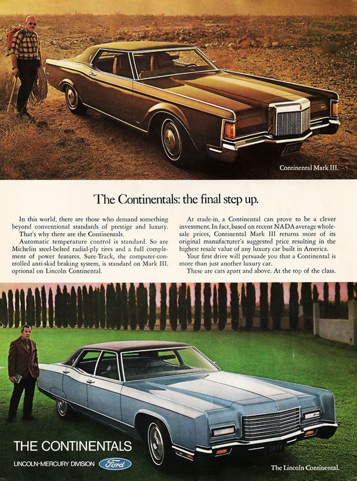 1971 lincoln continental mark iii and continental ad lincoln what a luxury car should be. Black Bedroom Furniture Sets. Home Design Ideas