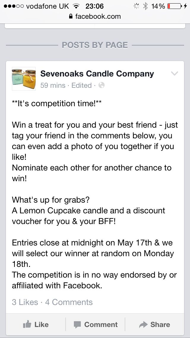 Pop onto our Facebook page to enter! www.facebook.com/SevenoaksCandleCompany  Re pin for an extra entry!