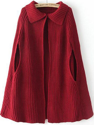Such a dramatic piece perfect for autum outfits ...   Red Lapel Loose Knit Cape Sweater 26.67