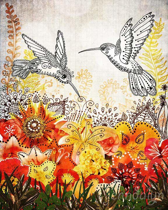 Hummingbird Garden by Jennifer Lee