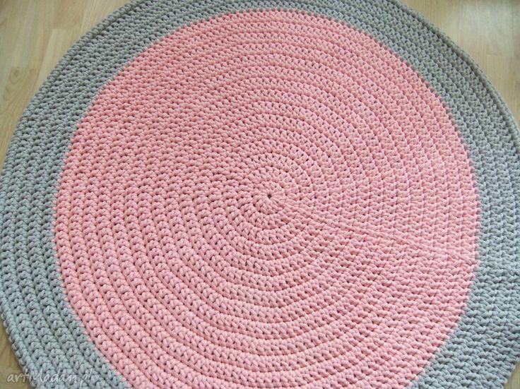 Okrągły dywan 104 szaro-różowy sznurka pokoik dziecka sissi craft