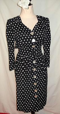 Vintage 80's 50's Style Black White Polka Dot Rayon Pinup Rockabilly Dress: Polka Dots, Dot Rayon, Rockabilly Dresses