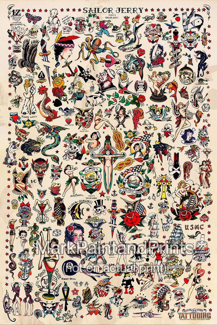 SAILOR JERRY TATTOO FLASH FINE ART PRINT - por lo tanto, este es el que hice para mí mismo que realmente cuelga en mi casa. Quería ser más de una obra de arte que cartel. Es por eso decido hacer las impresiones en un papel de arte fino. Es un tamaño de imagen de 24 x 36 con una variedad de Sailor Jerry Collins tatuaje Flash. Añado las leves manchas café en el fondo (no sé al igual de esa manera). Lo hace aparecer mucho más vintage. Pero si usted o alguien que amas es un tatuaje o un…